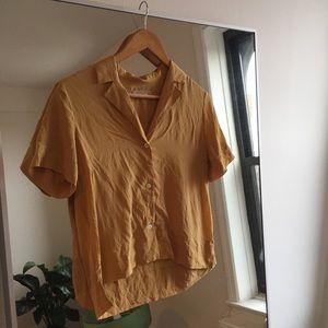 Everlane Silk Shirt in Mustard / Gold